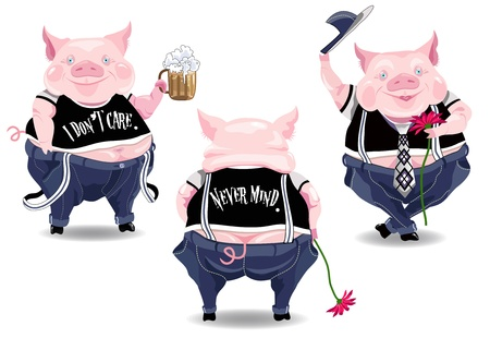 rude: Three funny pig characters with beer, flower and text.