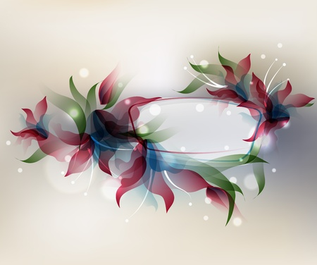 Background with transparent gradient stylized flowers  and frame.  Vector