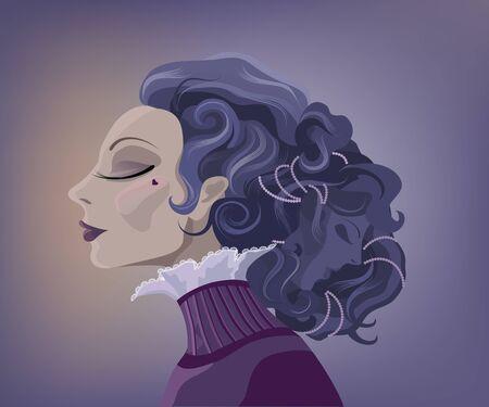humane: Vintage surrealistic woman portrait with two faces. Illustration