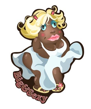 plus size girl: Big, funny girl hippopotamus character.