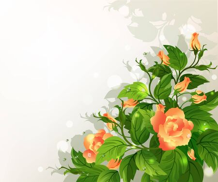 with space for text: Beautiful background with yellow roses and green leafs.
