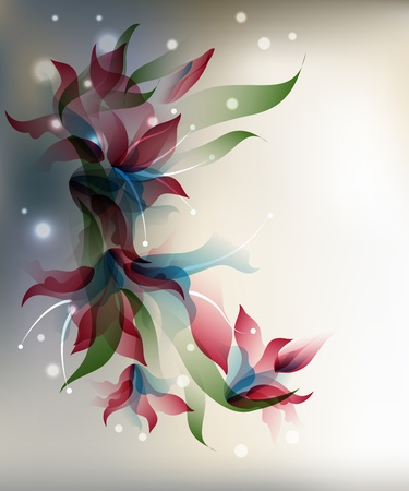 neutral: Background with transparent gradient stylized flowers  and frame.  Illustration