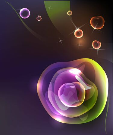 Stylish dark abstract background with multicolored bubble sphere.