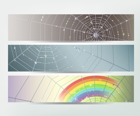 gossamer: Set of banners with spider web and shining water drops.  Illustration