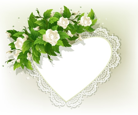 Beautiful background with fresh white roses and heart. Vector