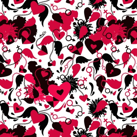 Seamless background with broken hearts, wings, chains patterns.