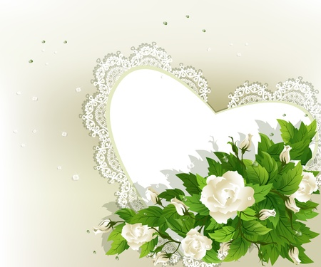 Wedding background with fresh white roses and heart. Vector