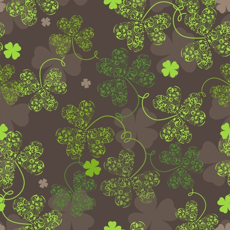 Decorative seamless background with green trefoil pattern.  Vector