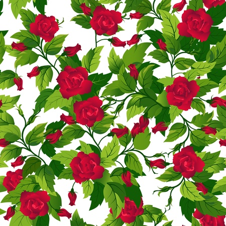 Beautiful seamless background with red roses and green leafs. Stock Vector - 12477596