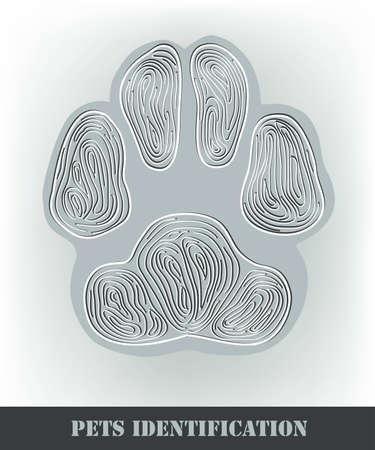 Pets identification, stylized dog paw print.