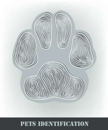 Pets identification, stylized dog paw print. Stock Vector - 12477605