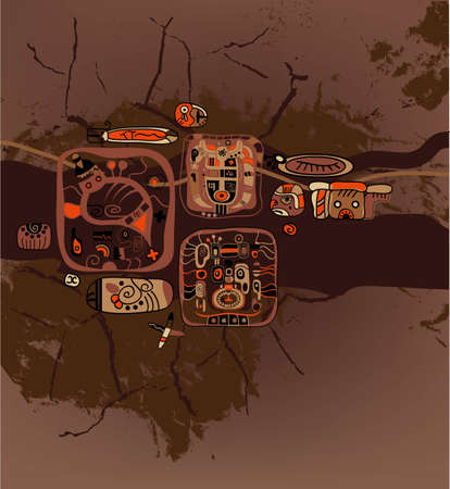brawn: Brown grunge  abstract background with stylized Maya symbols.