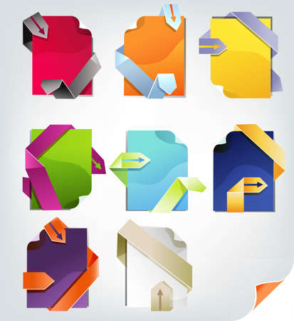 Colorful place for text elements set, multicolored papers.  Vector