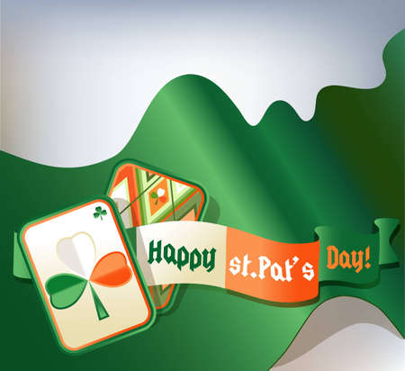 St. Patrick card with green, white, orange trefoil on green background. Vector