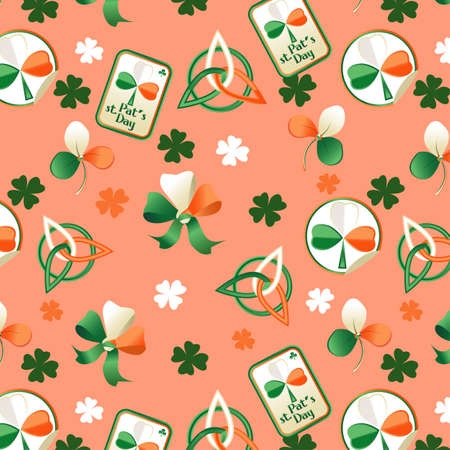 Trefoil seamless St. Patrick's Day background.  Stock Vector - 12825453