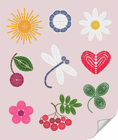 simple flower: Embroidery elements set: sun, cherry,  flower, trefoil, chamomile. Illustration