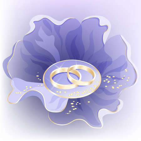 special events: Wedding background with blue flower and golden rings.