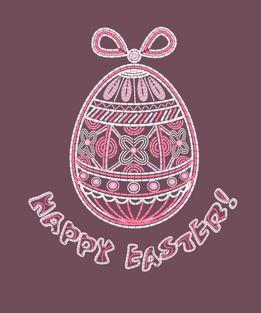 Happy Easter background with embroidered egg.  Illustration