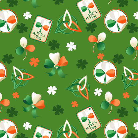 Trefoil seamless St. Patricks Day background.  Vector