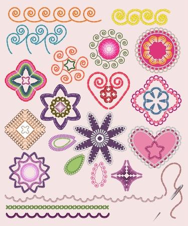 Ornamental embroidery set: flowers, patterns, brushes.  Illustration