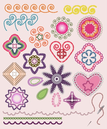 stitches: Ornamental embroidery set: flowers, patterns, brushes.  Illustration