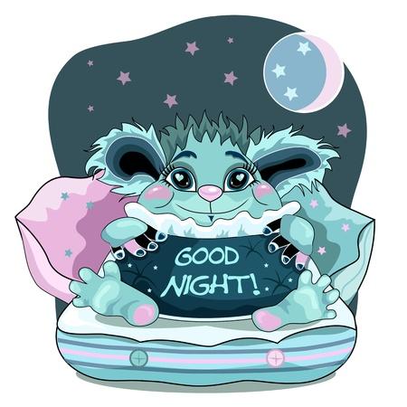 buonanotte: Carino sfondo la buona notte con il blu mostro amichevole.