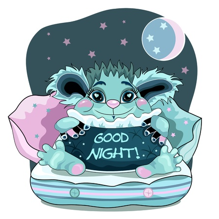 good night: Cute good night background with blue friendly monster.