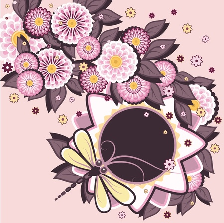 Floral decorative background with daisies patterns and dragonfly. Vector