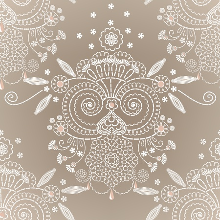 repeatable: Decorative floral embroidery seamless background. Illustration