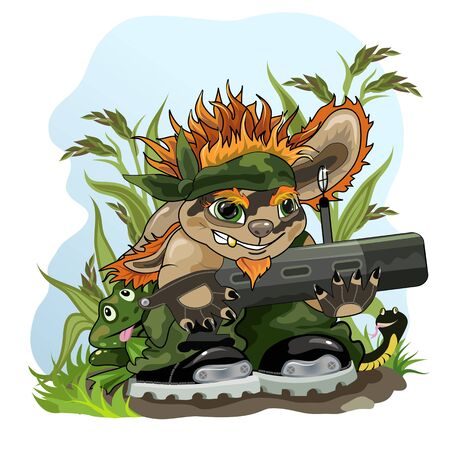 Picture of funny creature with bazooka and animals protecting nature.