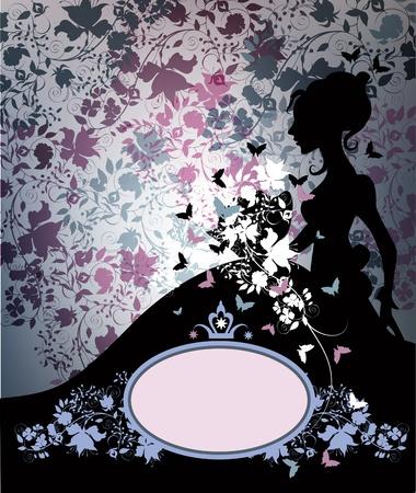 silhouette papillon: Vintage silhouette de jeune mariée en noir sur fond floral.
