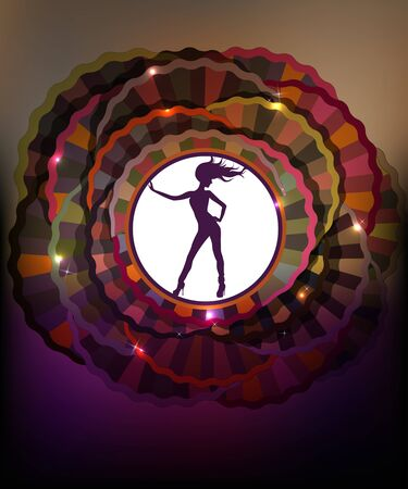 Background with abstract cycles and dancing girl silhouette. Stock Vector - 13105947