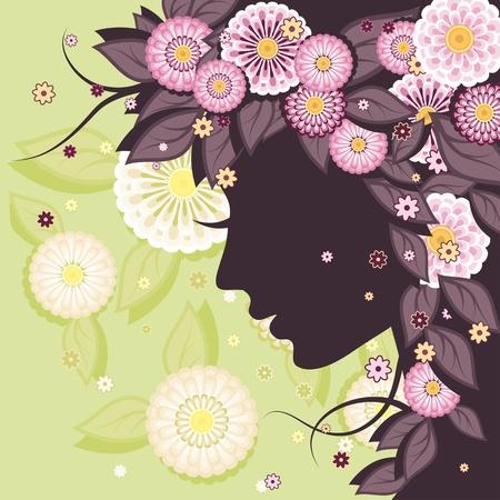 visage femme profil: Floral arri�re-plan d�coratif avec des motifs de marguerites et silhouette de visage de femme.