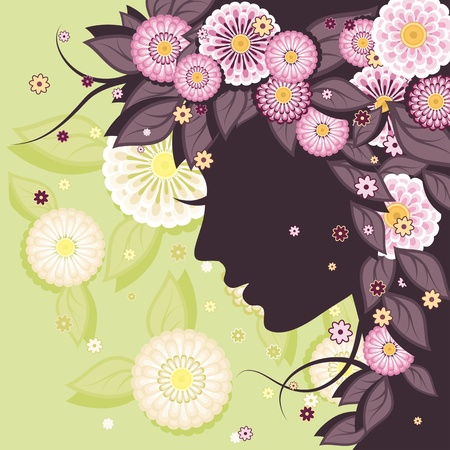 Floral decorative background with daisies patterns and woman face silhouette.