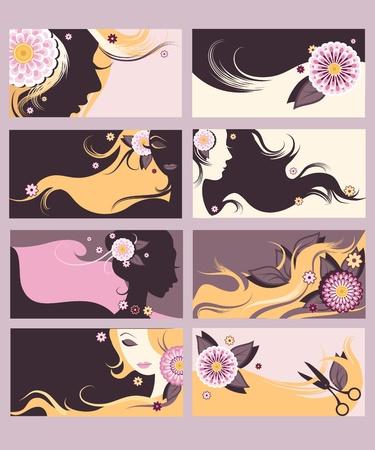 yellow hair: Carte di parrucchiere alla moda chiamata impostato. Vettoriali