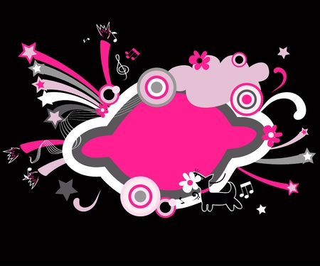 Black and pink funny congratulations frame. Vector