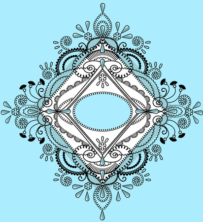refine: Decorative blue background with embroidery lace black frame.