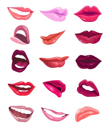 Set of 15 glamour lips, with different lipstick colors.  Stock Vector - 13339710