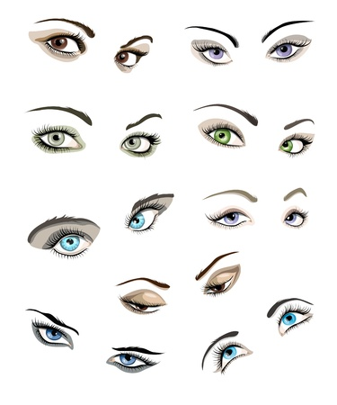 blue eyes girl: Set of 9 beautiful glamour woman's eyes and eyebrows.