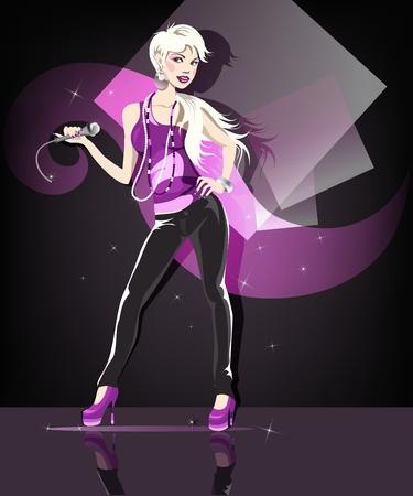 woman shadow: Beautiful glamour karaoke blond girl.