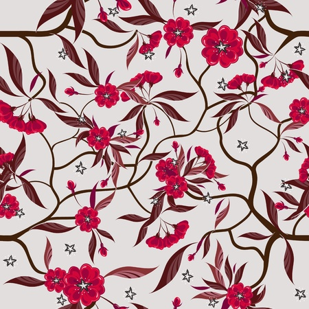 Decorative floral seamless pattern with red flowers. Illustration