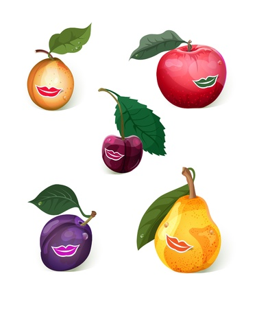 prune: Set of 5 smiling fruits: apple, pear, prune, apricot, cherry.
