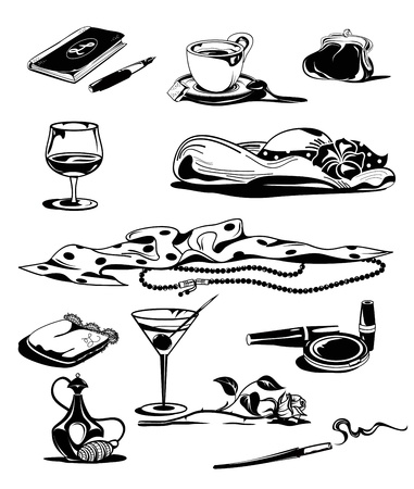 Set of graphic black&white retro ladies objects. Stock Vector - 13716536