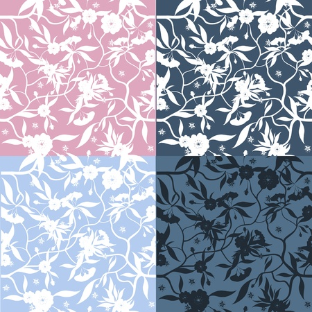repeatable: Set of four decorative floral seamless patterns.