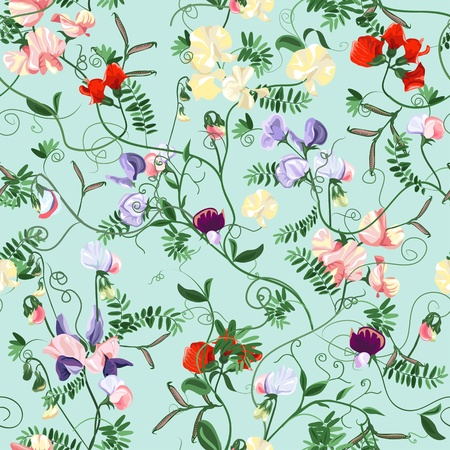 Decorative colorful seamless with sweet pea patterns. Vector