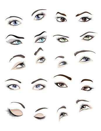Conjunto de 10 ojos mujer hermosa glamour y las cejas. Ilustración de vector