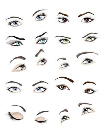 brown eyes: Set of 10 beautiful glamour womans eyes and eyebrows.