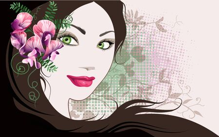 Decorative background with woman face and sweet pea flowers. Vector