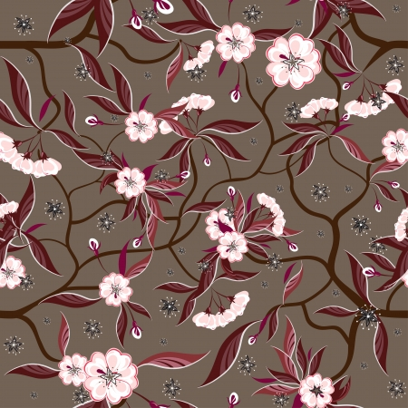 repeatable: Decorative floral seamless pattern with red flowers. Illustration