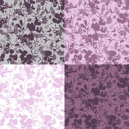 sweet pea: Set of four decorative sweet pea silhouette seamless patterns.